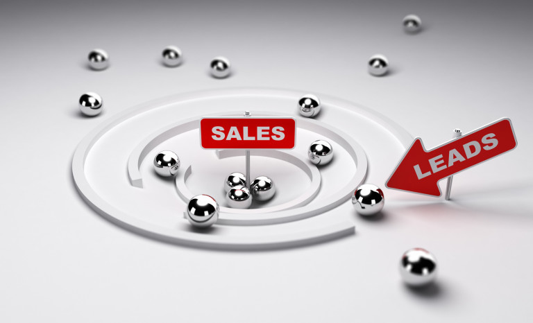 Sales process simplified one arrow with the word leads ans a sign with the word sales, 3d render